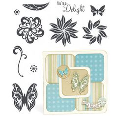 "Close to My Heart My Acrylix Stamp Set Delight  Set of 10  Recommended My Acrylix® Blocks:  1"" × 1"" (Y1000), 1"" × 3 ½"" (Y1002), 3"" × 3"" (Y1006)    $13.95"