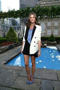 Olivia Palermo epitomizes summer chic, paring shorts with heels, nautical strips and a white blazer! Great inspiration for poolside brunch in Beverly Hills!