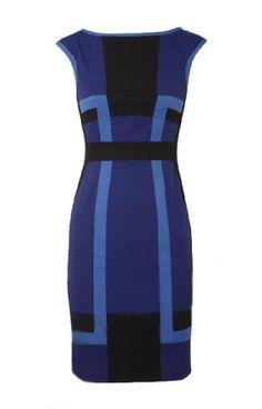 Karen Millen Graphic Colour Block Dress Blue and Black