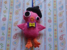 Felt Pink Beatnik Bird Ornament by Pepperland by Pepperland