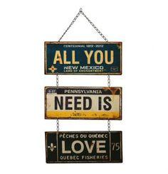 Por que todos nós precisamos de AMOR! Placa de metal para decorar seu ninho de amor com muito estilo! #VersareAnosDourados #VemPraVersare #Retrô #DiaDosNamorados