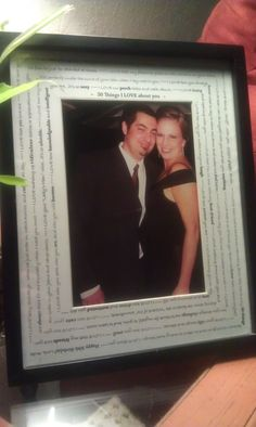 """Gift ideas - Milestone Birthday Personalized Frame - """"30 Things I love about you.""""  I designed this, but my friend Sara Neumann formatted the text in Illustrator. I listed 30 things that I loved and bolded words that I wanted to pop. Glue the text paper to the matte. Great gift and sweet memories."""
