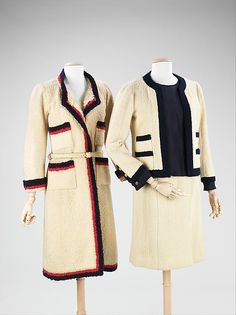 """Suit Design House: House of Chanel (French, founded 1913) Designer: Gabrielle """"Coco"""" Chanel (French, Saumur 1883–1971 Paris) Date: ca. 1962 Culture: French Medium: wool, silk, metal"""