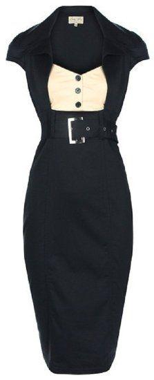 Amazon.com: Lindy Bop 'Wynona' Chic Vintage 1950's Secretary Style Black Pencil Wiggle Dress: Clothing