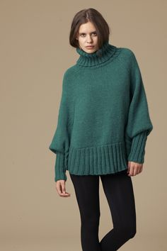 hand knitted poncho jumper in Patons Jet Just the shape I was thinking of...