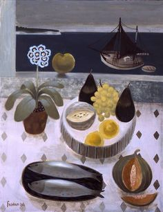 """Mary Fedden """"Still Life by the Sea"""", 2006 (Great Britain, Naive Art, 21st cent.)"""