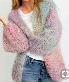 Size S M L XL Thick image 1 Mohair cardigan pattern . Size S M L XL Thick image 1 Knitwear Fashion, Knit Fashion, Mohair Cardigan, Gros Pull Mohair, Sweater Knitting Patterns, Free Knitting, Knit Cardigan Pattern, Pulls, Knit Crochet