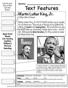 Dr. Martin Luther King Common Core Aligned - Nonfiction (Excellent Text Features Handout). Excellent to use the second week in January, leading up to MLK Day on January 18, 2016.