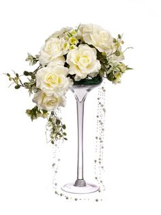 Artificial 55cm White Rose, Mixed Foliage and Pearl Bead Display in a Tall Martini Glass Vase (D023WPDG) from Artplants.co.uk #rose #artificialflowers #artificialrose #weddingflowers