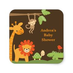 Make your own style with this Jungle Animals Stickers. Just add your photos and words to this design. Baby Shower Supplies, Baby Shower Themes, Baby Shower Gifts, Jungle Animals, Baby Animals, Animal Tattoos For Men, Safari, Make Your Own Stickers, Baby Stickers