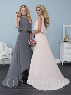 Two-piece gown featuring a hi-low chiffon skirt and a fun and flowy chiffon crop top. Pictured in: Charcoal/Charcoal, Petal Pink/Petal Pink. Contact an authorized retailer for fabric and color options. Contact an authorized retailer for fabric and color options.
