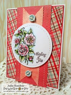 Out To Impress: Thinking of You! Camellias Digital Stamp Set by Power Poppy, card design by Julie Koerber.