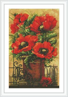 Poppy Counted Cross Stitch Pattern  Large Cross by GCStitchDIY