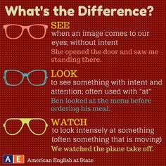 See vs Look vs Watch #english
