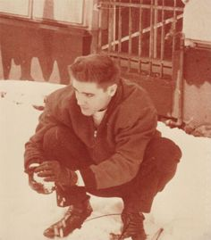 Elvis Presley playing in the snow in the early days of his rock n roll stardom