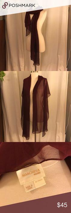 Marchesa Notte burgundy silk scarf shawl wrap Marchesa Notte burgundy silk scarf shawl wrap Marchesa Accessories Scarves & Wraps