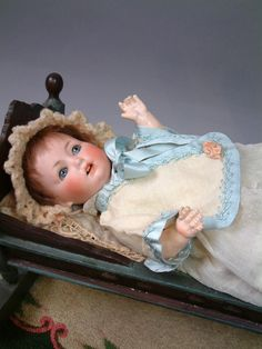 Sweet & Excellent Antique Early Cream Wool Baby Jacket w/Blue Silk from kathylibratysantiques on Ruby Lane