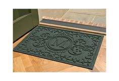 One Kings Lane - Come on In - Baroque Monogram Mat, Evergreen