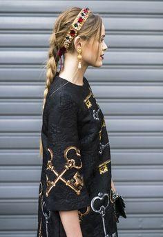 Beautiful braids at Dolce and Gabbana