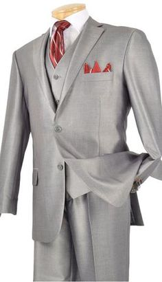 Vinci Men Suit Grey - Church Suits For Less Year Round Classic 3 Piece Suit Vinci Collection 2019 Luxurious Wool Feel, Single breasted 2 Buttons, suits with vest Side vents, flat front pants, shiny solid. Pants Lined to the Knee Dry Clean Only Imported Next Suits, Mens 3 Piece Suits, Sharkskin Suit, Slim Fit Suits, Church Suits, Fitted Suit, Short Suit, Fashion Moda, Mens Fashion Suits
