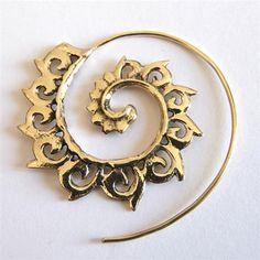 Brass Earrings  Brass Spiral Earrings  Gypsy Earrings  by RONIBIZA