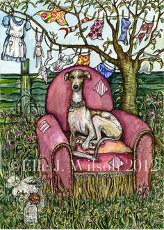 The Pink Chair  Whippet Art Print by AlmostAnAngel66 on Etsy, £15.00