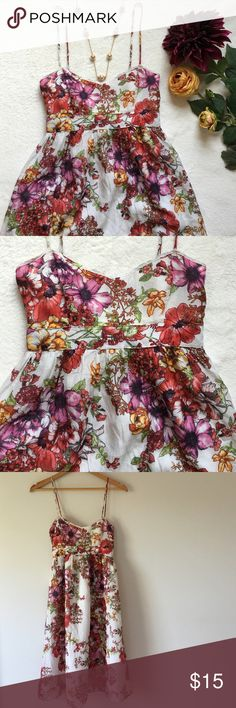 "Zara Basic Floral Silk Dress Beautiful silk and cotton dress with spaghetti straps. Empire waist with ribbon that ties in back. Lined with 100% rayon. Bust 15"" pit to pit. Waist 12"" flat across. 30"" from waist to bottom of hem. Straps are 16 1/2"" long. Side zipper. Preloved good condition. Zara Dresses Midi"