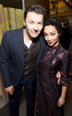 Joel Edgerton & Ruth Negga from Golden Globes 2017 Party Pics The nominated Loving stars embraced for a photo at the BAFTA Tea Party at the Four Seasons Hotel.