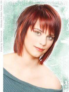 Choppy Layered Hair with Fringe | Squared medium length hairstyle with choppy bangs