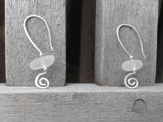 White English Sea Glass Earrings in Sterling by gardeniajewels, $32.00