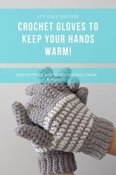 Cozy Striped Crochet Gloves Free Pattern & Tutorial from B.Hooked The Cozy Striped Crochet Gloves are a must have for winter to keep your fingers toasty warm. Crochet Mittens Pattern, Free Crochet, Crochet Baby, Knit Crochet, Crochet Patterns, Ravelry Crochet, Free Knitting, Crochet Ideas, Crochet Hooks