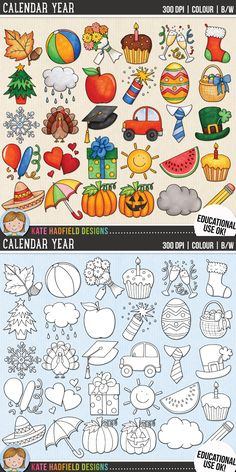Calendar Clip Art for teachers! Contains coloured clipart and black and white outlines at 300 dpi for highest quality printing for your resources and projects! | Hand-drawn clip art by Kate Hadfield Designs at Teachers Pay Teachers