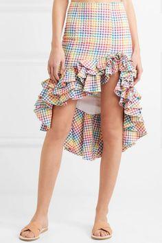 Caroline Constas | Ruffled asymmetric checked seersucker skirt | NET-A-PORTER.COM