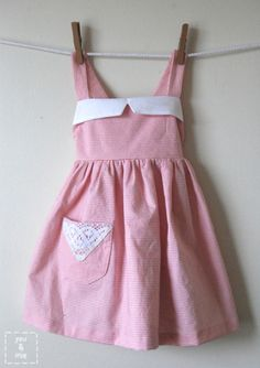 Pretty Pink Pinafore TUTORIAL... such a sweet, little pinny with the contrasting pink and white. Has cross over straps at the back which makes it perfect for layering ~ You and Mie.
