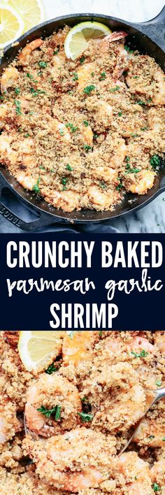 Crunchy Baked Parmesan Garlic Shrimp is buttery and delicious parmesan garlic shrimp coated and baked to crispy crunchy perfection. The flavor is incredible and you won't be able to get enough!