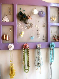 jewelry organizer re-using a frame from Big Lots, some screen, a few knobs, & lavender paint
