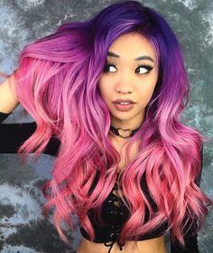 Pin von 🏐 ains 💛 auf hair in 2019 dyed hair, hair color pink Pink Ombre Hair, Hot Pink Hair, Hair Color Purple, Hair Dye Colors, Cool Hair Color, Purple Ombre, Amazing Hair Color, Pink And Orange Hair, Dyed Hair Ombre