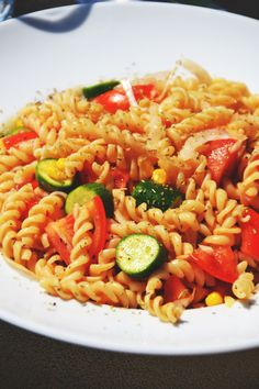 This is an old recipe from me, found it today and simply had to share it, a summer favourite! you need: (for one biiiiig serving) 1/2 cucumber one tomato 1/2 onion more veggies if you want 125g pa...