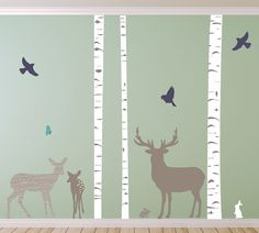 Tree Deer and Buck Family Wall Decals Tree and by ecowalldecals