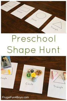 Preschool Shape Hunt - A super simple shape activity for preschoolers that requires only a minute to set up (summer fun for kids learning) Preschool Learning Activities, Preschool At Home, Preschool Lessons, Toddler Learning, Preschool Classroom, Classroom Activities, Toddler Activities, Preschool Shape Activities, Montessori Preschool