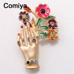 Comiya handmade jewelry friendship fashion gold color zinc alloy multi color epoxy hand & flowers charm brooches for lady brooch