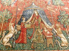 Vintage Tapestry_The Lady And The by GoldenBeeAntiques on Etsy, $82.00