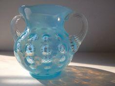 Fenton blue opalescent sugar bowl midcentury