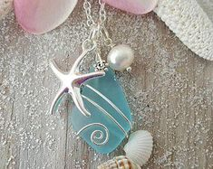Handmade in Hawaii, Wire wrapped blue sea glass necklace, Fresh water pearl, Starfish charm, Ster Seashell Jewelry, Seashell Crafts, Beach Jewelry, Feet Jewelry, Sea Glass Necklace, Sea Glass Jewelry, Silver Jewelry, Silver Bracelets, Gemstone Jewelry