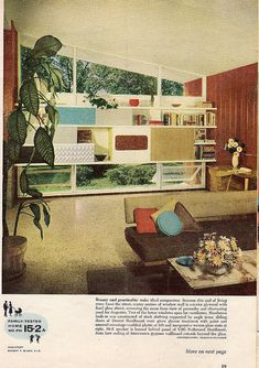 Popular Home, 1958 (mid century, modern, interior decor, space age) House Design Photos, Cool House Designs, Plywood Furniture, Mcm Furniture, Furniture Vintage, Bedroom Furniture, Vintage Industrial Decor, Decor Vintage, Vintage Ads