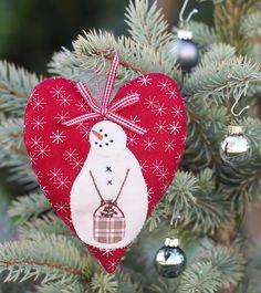 Snow Happy Hearts Snowman Ornament - December - applique - felt
