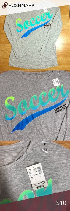 NWT Girls Gray Justice soccer long sleeve tee NWT Girls Gray Justice soccer long sleeve tee Soft material with stretch. Girls size 12 or women's s/m. Green and blue details are Outlined by sparkles. Black logo. This T-shirt or top is perfect for every day as it is light. Justice Shirts & Tops Tees - Long Sleeve