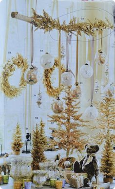 Ballard Designs Christmas Tinsel Collection with Mercury Glass Ornaments