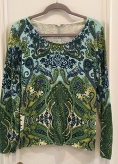 Buy my item on #vinted http://www.vinted.com/womens-clothing/sweaters/21436764-blue-green-talbots-paisley-sweater