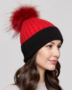 e2b5fbfe Kinley Knit Beanie with Finn Raccoon Pom Pom in Red/Black Fur Hat World,